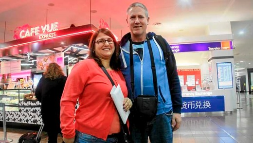 Graeme and Vivian Smith at Tullamarine after checking in for their flight to Thailand.