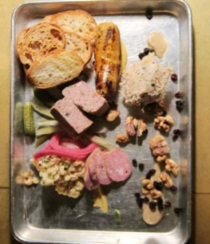 Tin tray of charcuterie at Furco.