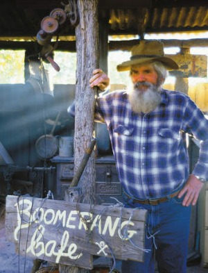 Local character 'Mad Mick' at Boomerang Cafe, Barcaldine.