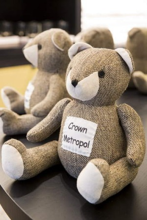 Crown Metropol teddy bear doorstops.