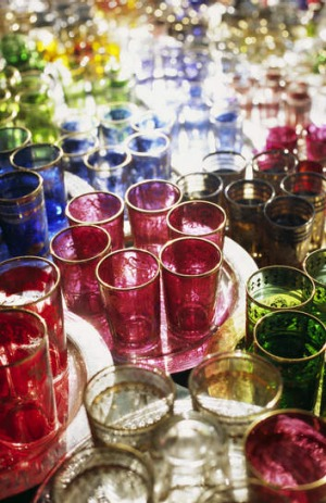 Glassware in the souks of Marrakesh.