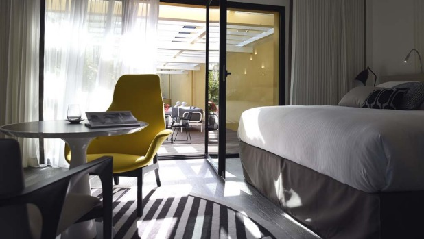 "A suite inside the ""Molitor"" luxury resort with hotel, spa, swimming pool and restaurant in Paris."
