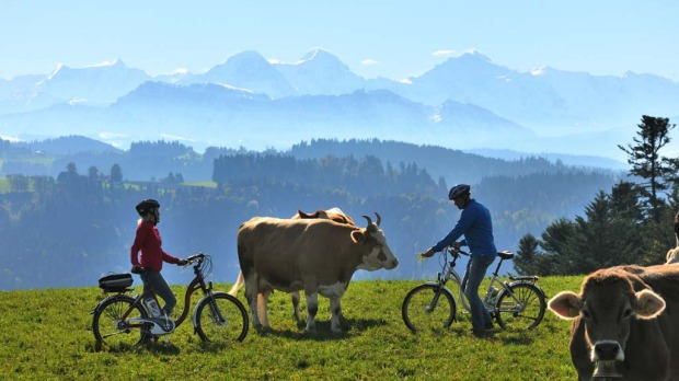 Picture perfect: With soaring snow-capped mountains, cows on mount tops and endless green grass. All you need to do in Switzerland is to point your camera and press click.