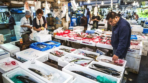 Not for sensitive noses: The Tsukiji fish market in Tokyo.