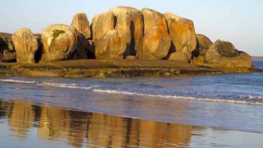 The rock formation known as the Five Sisters on Spiers Bay.