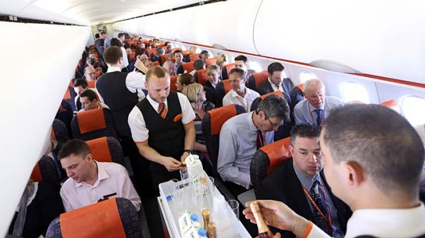 On board budget airline easyJet.