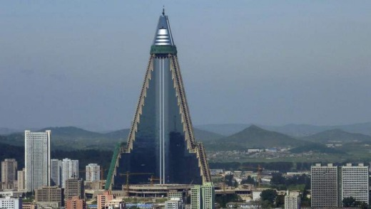 Ryugyong Hotel in Pyongyang. The towering North Korean hotel, Esquire magazine once dubbed as 'the worst building in the ...