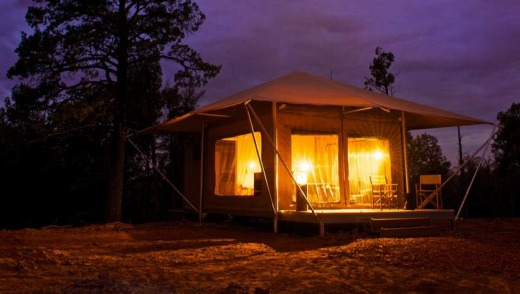 A fully serviced tent awaits at the end of the day. & The full range of wonders