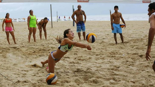 Volleyball players on the beach in Recife.
