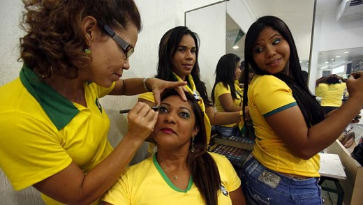 Locals get ready to cheer on Brazil in Recife.