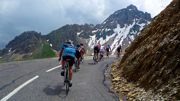 Power and passion: Cyclists enjoy the thrill of the Alpe-d'Huez descent.