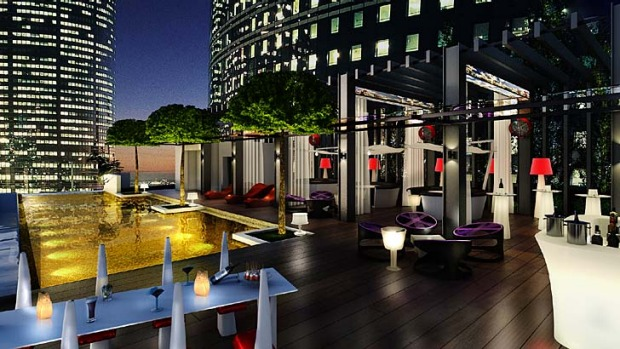 Under the stars: The rooftop pool becomes a place for food and drinks and DJ beats after sunset.