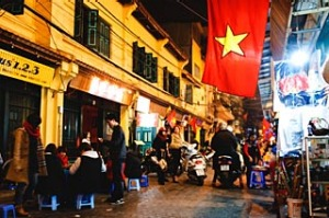 Busy night in Hanoi old town.