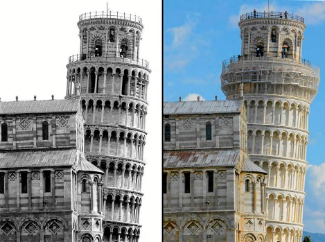 Pisa's leaning tower before the stabilization works in 1992 (L) and at the end of the works in 2010 (R) showing a ...
