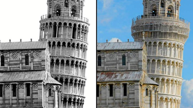 Pisa's leaning tower before the stabilization works in 1992 (L) and at the end of the works in 2010 (R) showing a slightly different level of tilt.
