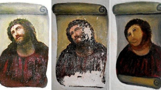 A combination of three documents provided by the Centre de Estudios Borjanos shows the original version of the painting Ecce Homo (L) by 19th-century painter Elias Garcia Martinez, the deteriorated version (C) and the restored version by an elderly woman in Spain. An elderly woman's catastrophic attempt to 'restore' a century-old oil painting of Christ in a Spanish church has provoked popular uproar, and amusement.
