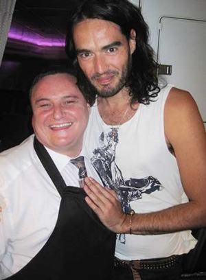 Owen Beddall with Russell Brand.