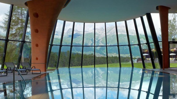 Mountain views: The indoor pool.