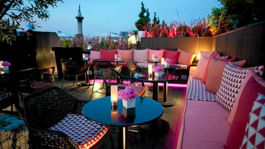 The Vista Bar atop Trafalgar Hotel, London.