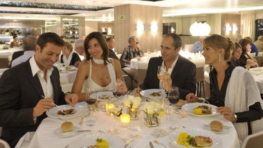Dining aboard the Le Ponant.