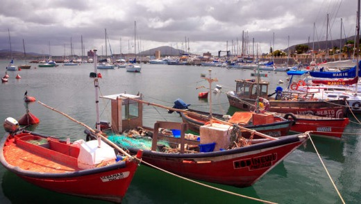 Seaside charm: Fishing boats in Piriapolis.