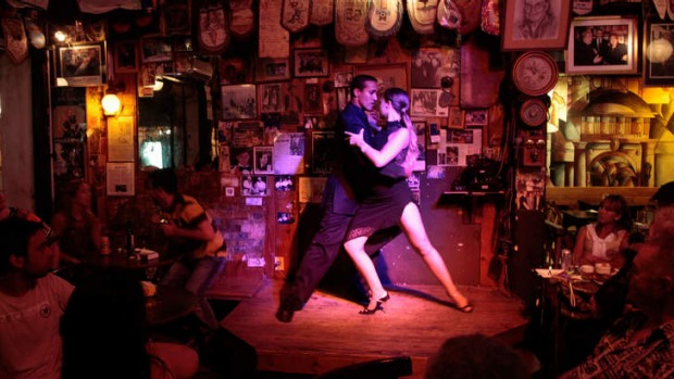 Latin passion: Tango dancers in Montevideo, Uruguay.