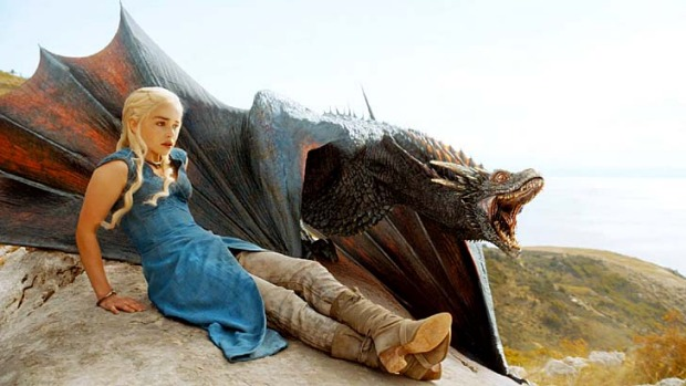 Daenerys Targaryen with her dragon in season four of <em>Game of Thrones</em>.