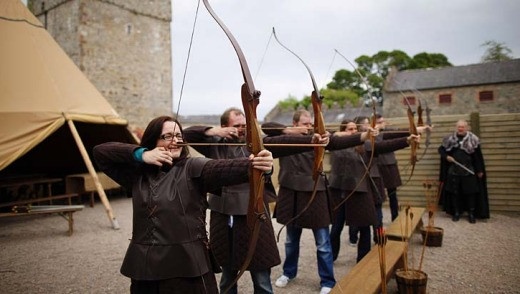 Tourists take part at clearsky adventure which has built an exact replica of Winterfell Archery range in the same spot where filming took place at Castle Ward, Strangford Lough in Northern Ireland.
