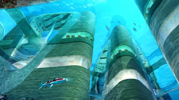 An underwater view of China's floating city.