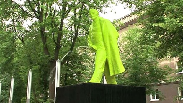 The urinating Lenin statue in the former Soviet town.