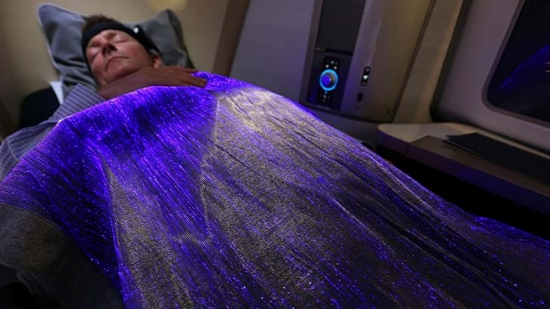 While you were sleeping: The 'happiness blanket' being used by British Airways.