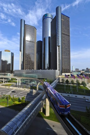 The monorail links several landmarks near the waterfront in Detroit.