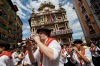 A band plays music during the opening and the firing of the 'Chupinazo' rocket which starts the 2014 Festival of the San ...