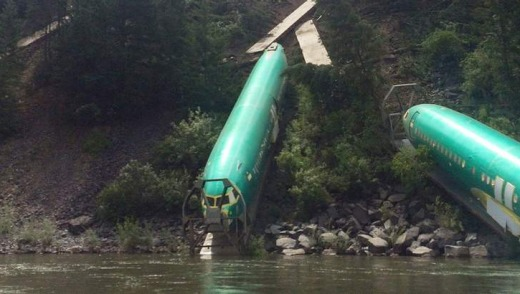 The fuselages lie on the embankment of the Clark Fork River, Montana.