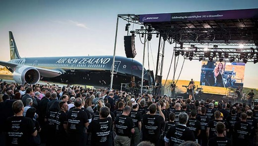 American country music group The Band Perry plays at the handover ceremony for the first Boeing 787-9 Dreamliner to Air New Zealand.
