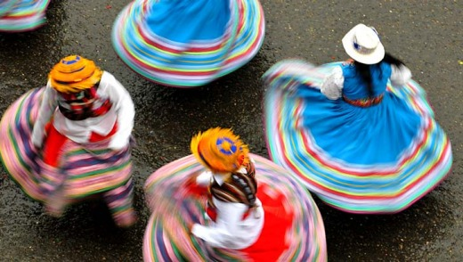 Colour on display: Dancers in Bolivia.