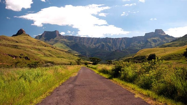 Happy trails: The Amphitheatre, Drakensberg Mountains, South Africa.