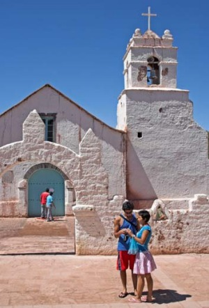 The Church of San Pedro de Atacama in the Atacama Desert, northern Chile.