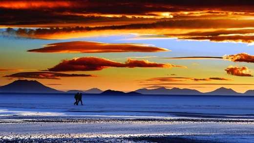 Memorable sights: A fiery sunset over the Salar de Uyuni in Bolivia.