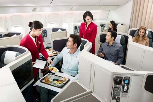 Cathay Pacific business class service.