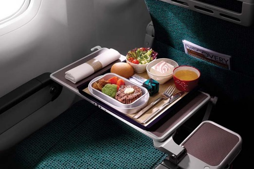 Meal served on Cathay Pacific.