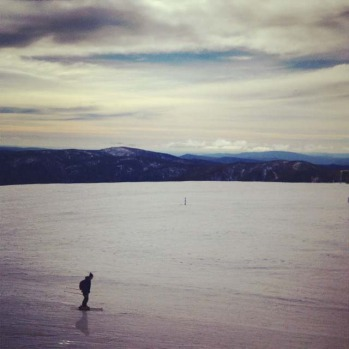 Skiing across an ocean at Mt Buller.