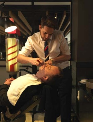 The old-fashioned barber shop at QT Canberra.