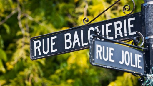 Street signage in French.