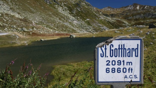 St Gotthard pass and lake, Switzerland.