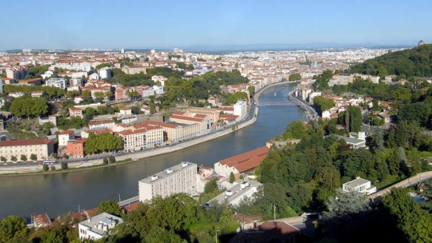 The Saone river in Lyon, Burgundy.