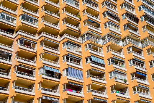 Balcony of an apartment building are seen at Magaluf beach in Mallorca, Spain.