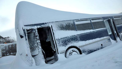 Perisher's bus photo was a hit on Facebook.