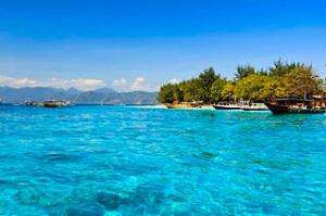 Gili Trawangan, seen on island hopping boat trip. Near Bali and Lombok.