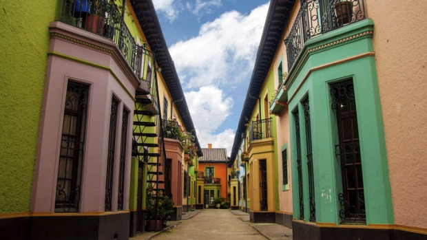Historic, colourful buildings in Bogota, Colombia.